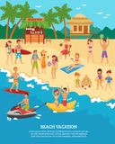 Beach scene flat royalty free illustration