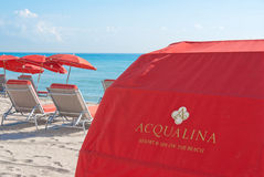 Beach scene in front of Aqualina, Sunny Isles, FL Royalty Free Stock Image