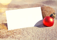 Beach scene with greeting card Royalty Free Stock Image
