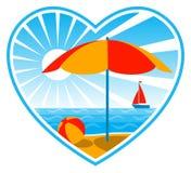 Beach scene in heart vector illustration
