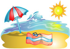 Beach scene illustration Royalty Free Stock Image