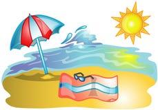Beach scene illustration Royalty Free Stock Image