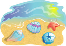 Beach scene illustration Stock Image