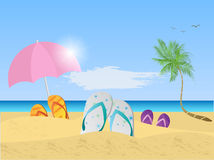 Beach Scene Illustration Royalty Free Stock Images