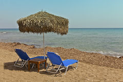Beach scene on the island of Rhodes, Greece. Stock Photos