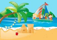 Beach scene with kids on the sailboat. Illustration vector illustration