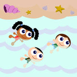 Beach scene with kids swimming Stock Image