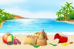 Beach scene with many toys. Illustration Royalty Free Stock Photos