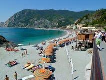 Beach scene at Monterosso in Cinque Terra stock photo