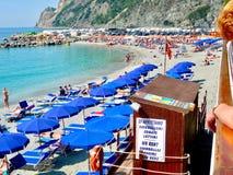 Beach scene at Monterosso in Cinque Terra stock photos