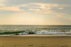 Beach scene in Nags Head NC sunrise on a clear blue day Royalty Free Stock Photos