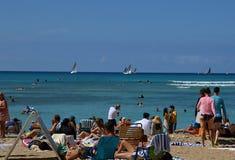Beach Scene at the Pacific, Waikiki Beach on the Island Oahu, Honolulu, Hawaii