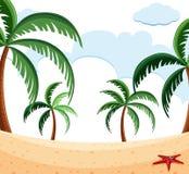 Beach scene with palm trees. Illustration vector illustration