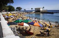 Beach Scene. Parasols at the beach, Salvador - Brazil Royalty Free Stock Image