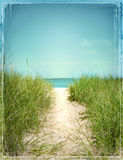 Beach Scene Photograph Illustration Bordered Path Beach Grass Water. Beach Scene Photograph Beachside of Lake Michigan Path to the shore Stock Illustration