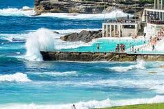 Beach Scene: Rock Swimming Pools overlooking Tasman Sea in Bondi Royalty Free Stock Image