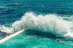 Beach Scene: Rock Swimming Pools overlooking Tasman Sea in Bondi Stock Photography