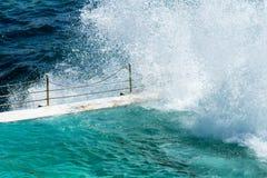 Beach Scene: Rock Swimming Pools overlooking Tasman Sea in Bondi Royalty Free Stock Photo