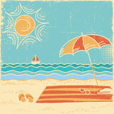 Beach scene sea landscape.Vector vintage illustration on old pap Stock Image