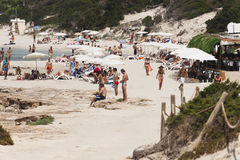Beach scene at the Ses Salines. Beach scene with travelers on the Ses Salines on Ibiza Stock Images