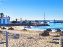Beach scene in the Stylish Town of Marbella on the Costa del Sol Spain Royalty Free Stock Photo