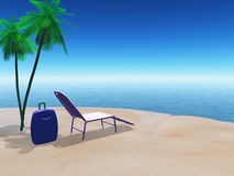 Beach scene with suitcase and sun lounger Royalty Free Stock Photo