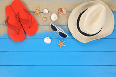 Beach scene in summer on vacation with shells, copyspace royalty free stock image