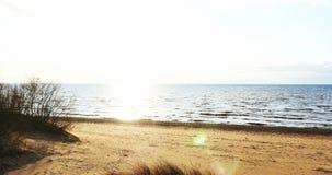 Beach scene with sun beams in the horizon , 4k. Beach scene with sun beams in the horizon stock footage