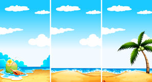 Beach scene in three different viewpoint Stock Photos