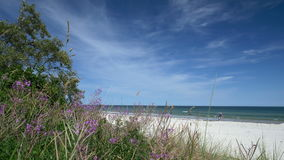 Beach scene with tourists and dune. Rügen - Baltic Sea. Beach scene with tourists and dune. Rügen - Baltic Sea. Clip contains beach, water, dune, tourists stock footage