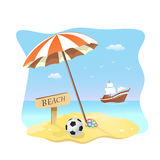 Beach scene vector illustration Stock Photography
