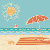 Beach scene.Vector sea landscape Stock Image