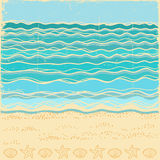 Beach scene.Vintage sea landscape with blue waves stock illustration
