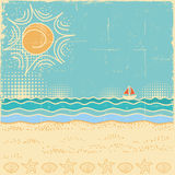 Beach scene.Vintage sea landscape with waves and sun sky Stock Photo