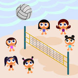 Beach scene with volleyball Royalty Free Stock Photography