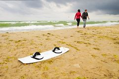 Water sports on a windy day at Warnemunde, Rostock Germany Stock Photo