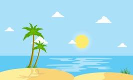 Beach scenery cartoon vector flat style Royalty Free Stock Photo