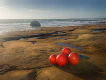 Beach scenery with fishing net markers. Beach scenery with red fishing net floats royalty free stock photos