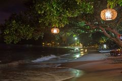 Beach scenery at night in Lombok, Indonesia. Asia Royalty Free Stock Photography