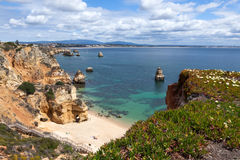 Beach Scenery of Praia do Camilo, Portugal Royalty Free Stock Image