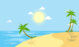 Beach scenery with sun vector Royalty Free Stock Images