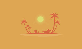 Beach scenery at sunrise silhouettes Royalty Free Stock Images