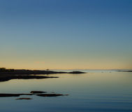 Beach scenery after sunset. In Hvaler, Norway stock photo
