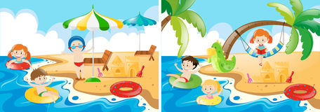 Beach scenes with kids playing. Illustration Stock Image