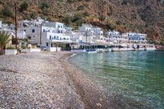 Beach of the scenic village of Loutro  in Crete Greece. Beach of the scenic village of Loutro  in Crete, Greece Stock Photos