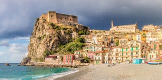 Beach of Scilla with Castello Ruffo, Calabria, Italy Stock Photo