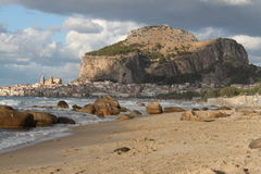 Beach and sea. Landscape on the beach to the sea, Palermo Sicily Royalty Free Stock Photos