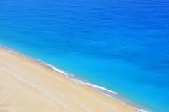 Beach and sea. The beautiful turquoise sandy beach Stock Image