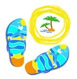 Beach, Sea And Bright Beach Shoes. Stock Photo