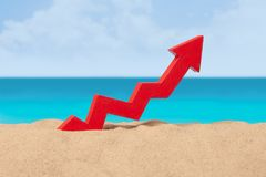 Beach sea and arrow chart up in the sand. The concept of sales growth, growth in prices in the turistic season. Beach sea and arrow chart up in the sand. The royalty free stock photography